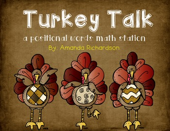 Turkey Talk {a positional words and ordinal numbers activity}