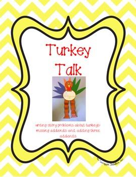 Turkey Talking - writing missing addend and three addend s