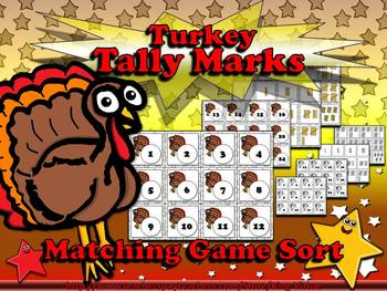 Tally Marks Matching Sort Game - Turkey -Thanksgiving or Christmas - King Virtue