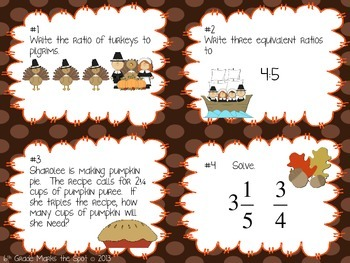 Turkey Task Cards: 6th Grade Math Review CCSS Aligned**
