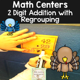 2 Digit Addition With Regrouping: Turkey Task Cards