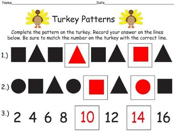 QR Code Turkey Task Cards What's My Pattern - Identifying &  Completing Patterns