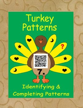 QR Code Turkey Task Cards What's My Pattern - Identifying