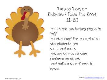 Turkey Teens with Rekenreks and Tens Frame -Read the Room