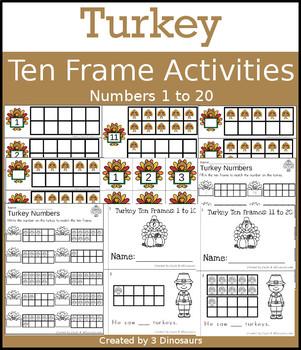 Turkey Ten Frame Activities (1-20) for Thanksgiving