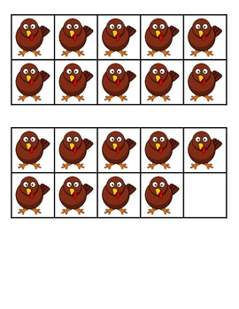Turkey Ten-Frame Cards - Student and Teacher Sizes
