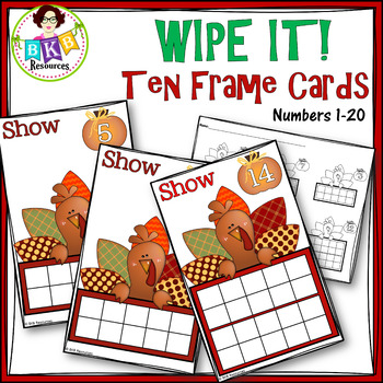 Turkey Ten Frame Cards ● Thanksgiving  ● Number Cards 1-20 ● Write On ● Counting