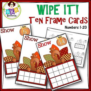 Turkey Ten Frame Cards ● Thanksgiving  ● Number Cards 1-20