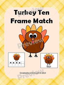Turkey Ten Frame Match  Numbers 1-10