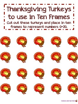 Turkey Ten Frames (1-20) - Aligned with Common Core Standards