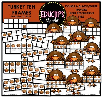 Turkey Ten Frames Clip Art Bundle  {Educlips Clipart}