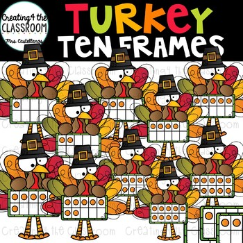 Turkey Ten Frames Clip Art {Thanksgiving Clip Art}