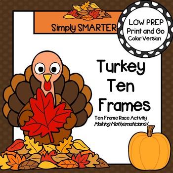 Turkey Ten Frames:  LOW PREP Thanksgiving Themed Ten Frame Race Activity