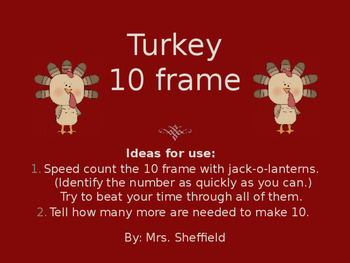 Turkey Ten Frames PP Practice or Review