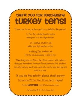 Turkey Tens - A Thanksgiving Write-the-Room Math Center