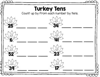 Turkey Tens: Counting By Tens Craftivity & Math Center