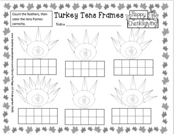 Turkey Tens Frames~Freebie