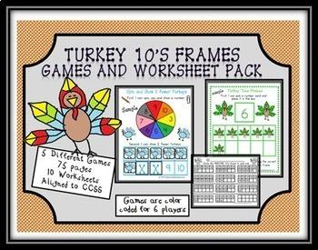 Turkey Tens Frames Games and Worksheet Pack