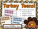 Turkey Tens Frames --- Turkey Teen Numbers Math Center Clip Cards