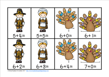 Turkey Thanksgiving Addition Facts