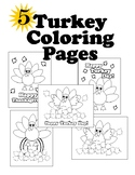 Turkey Thanksgiving Coloring Pages EASY FUN CUTE 5 pages