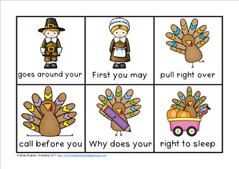 Turkey Thanksgiving Day Sight Word Fluency Phrases Race