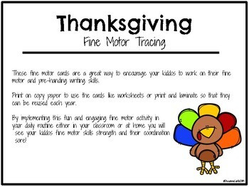 Turkey/Thanksgiving Fine Motor Tracing Cards