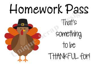 Turkey - Thanksgiving Homework Pass