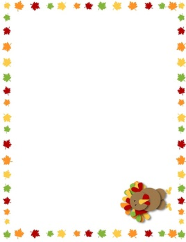 Turkey Thanksgiving Name Plates, Stationary, Place Mat