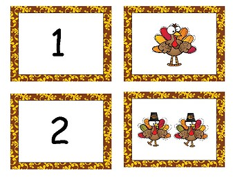 Turkey- Thanksgiving Number Match- Up to 10