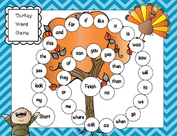 Turkey / Thanksgiving Sight Word Game