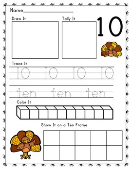 Turkey Thanksgiving Themed Number Recognition Composing 1-10 Print and Go