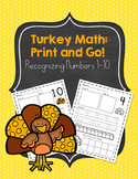 Turkey Thanksgiving Themed Number Recognition 1-10