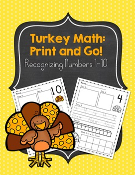 Turkey Thanksgiving Themed Number Recognition Composing 1-
