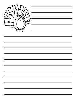 Turkey Thanksgiving Writing Page