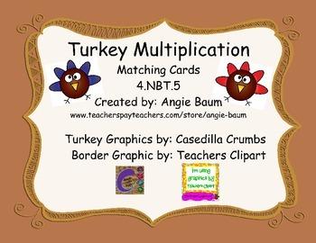 Turkey Theme Multi-Digit Multiplication Matching Cards