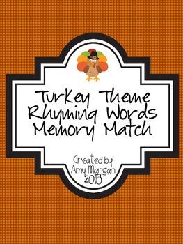 Turkey Theme Rhyming Words Memory Match