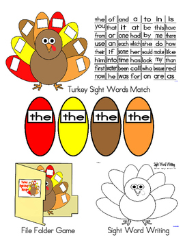 Turkey Theme Sight Words Activities (High Frequency Words, Literacy First)