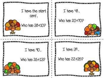 Turkey Themed 2-Digit Addition (No Regrouping) I Have, Who Has
