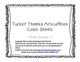 Turkey Themed Articulation Color Sheet