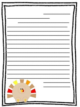 Turkey Themed Letter Writing Paper