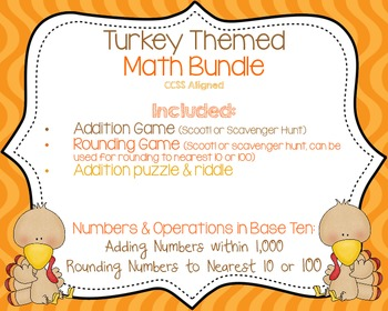 Turkey Themed Math Bundle {CCSS Aligned}