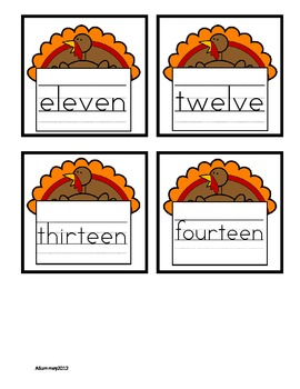 Turkey Themed Math Find It (Shapes, Number Words, and Colors)