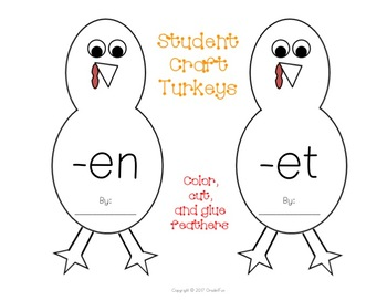 Turkey Themed Short Vowel Word Family Game and Craft