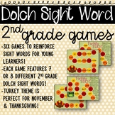 2nd Grade Sight Word Games with Turkey Theme