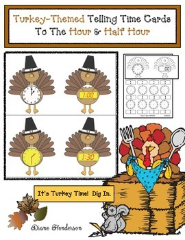 Turkey-Themed Telling Time Cards to the Hour & Half Hour