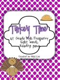 Turkey Time 1st Grade Sight Word Game