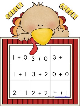 Turkey Time Addition Game Sums to 5