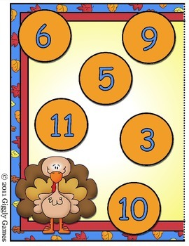 Turkey Time Addition Roll Call Dice Game