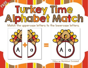 Turkey Time Alphabet Match FREEBIE - Match Uppercase to Lowercase Letters